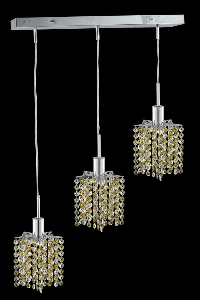 C121-1383D-O-P-LP/RC By Elegant Lighting Mini Collection 3 Light Pendants Chrome Finish