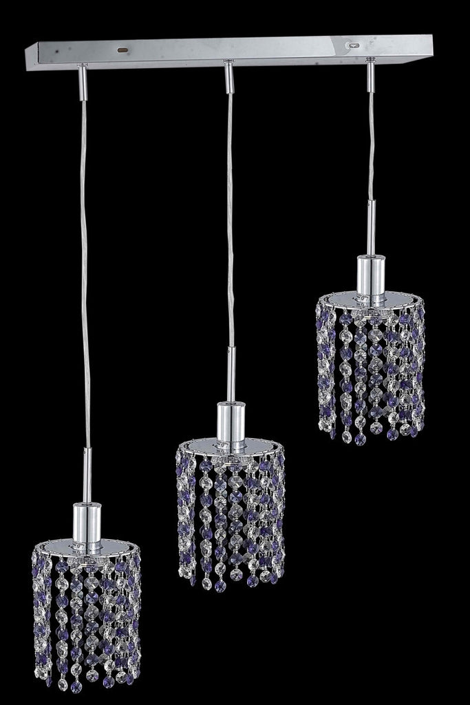 C121-1383D-O-R-LP/RC By Elegant Lighting Mini Collection 3 Light Pendants Chrome Finish