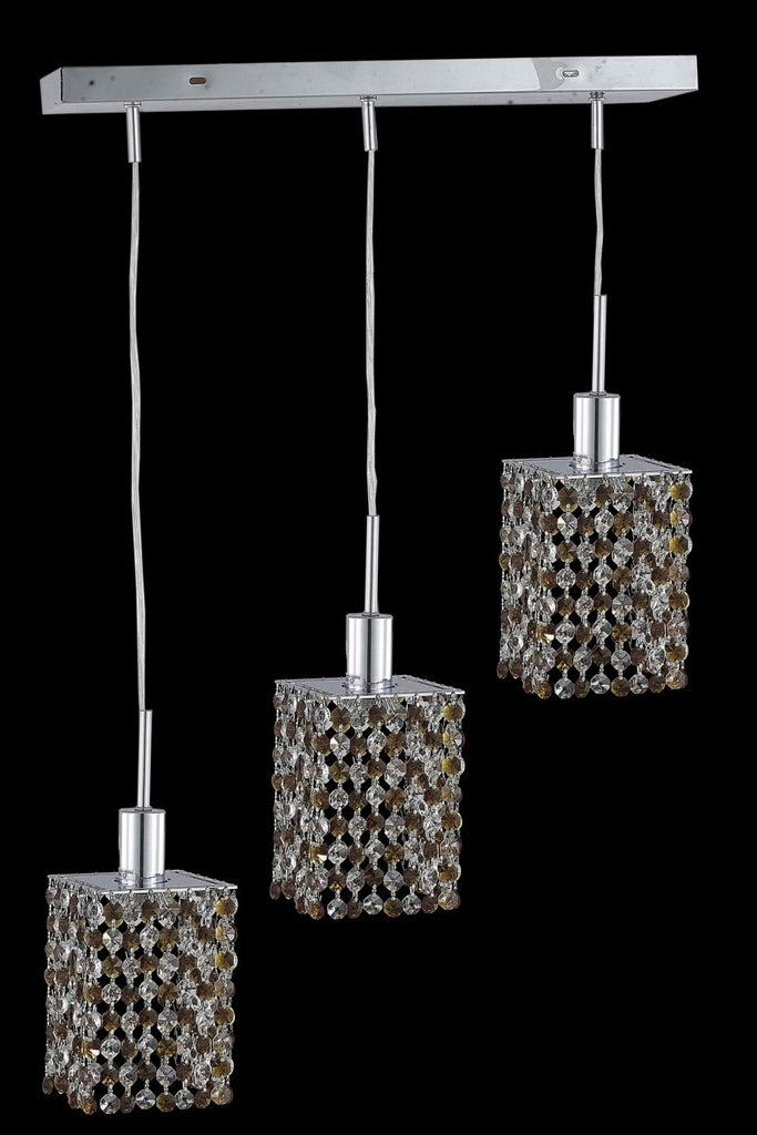 C121-1383D-O-S-GT/RC By Elegant Lighting Mini Collection 3 Light Pendants Chrome Finish