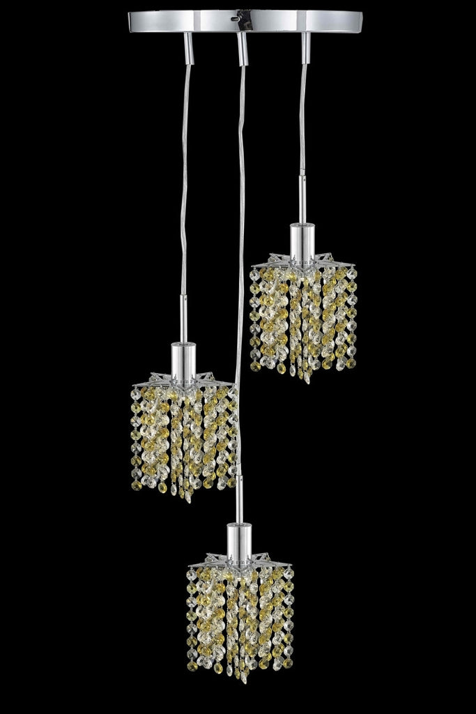 C121-1383D-R-P-JT/RC By Elegant Lighting Mini Collection 3 Light Pendants Chrome Finish