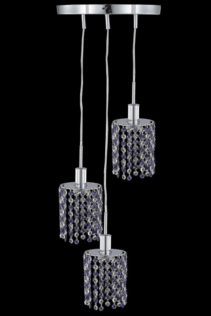 C121-1383D-R-R-TO/RC By Elegant Lighting Mini Collection 3 Light Pendants Chrome Finish