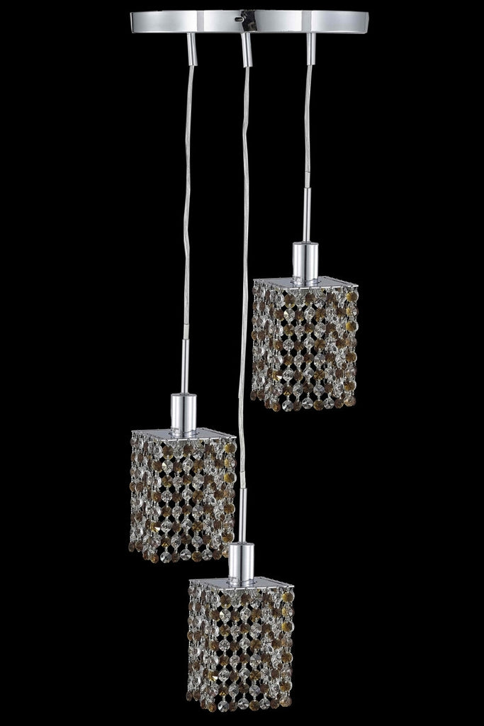 C121-1383D-R-S-TO/RC By Elegant Lighting Mini Collection 3 Light Pendants Chrome Finish