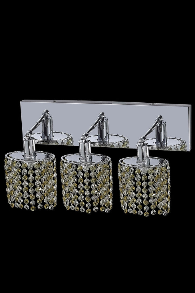 C121-1383W-O-E-GT/RC By Elegant Lighting Mini Collection 3 Light Wall Sconces Chrome Finish