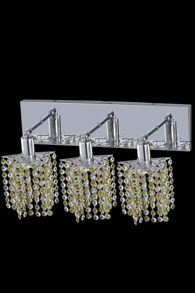 C121-1383W-O-P-GT/RC By Elegant Lighting Mini Collection 3 Light Wall Sconces Chrome Finish