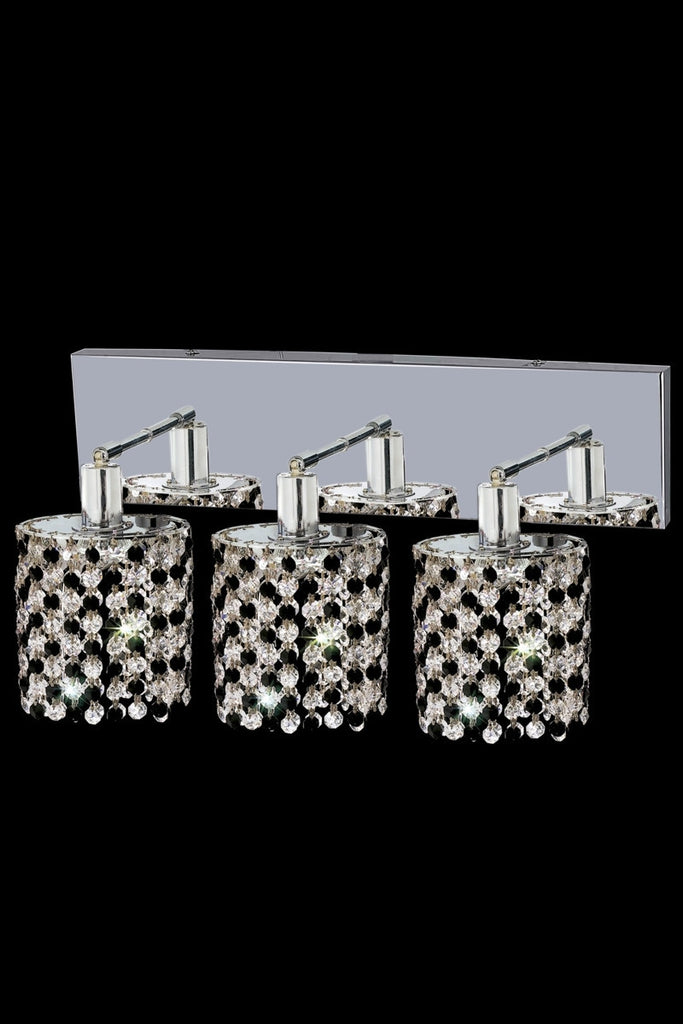 C121-1383W-O-R-LT/RC By Elegant Lighting Mini Collection 3 Light Wall Sconces Chrome Finish