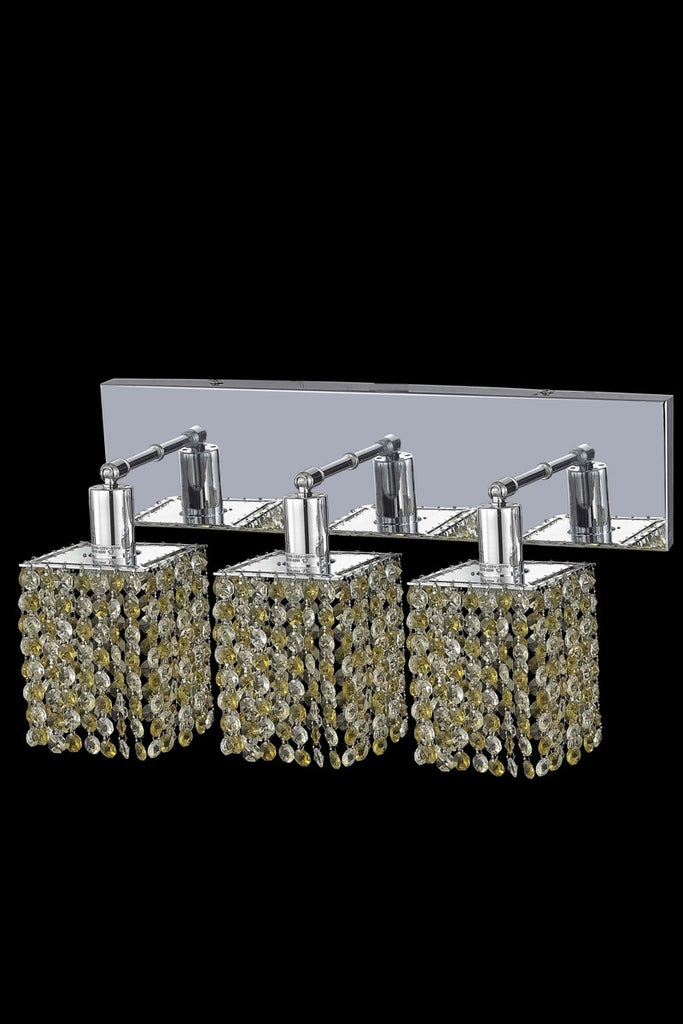 C121-1383W-O-S-LT/RC By Elegant Lighting Mini Collection 3 Light Wall Sconces Chrome Finish