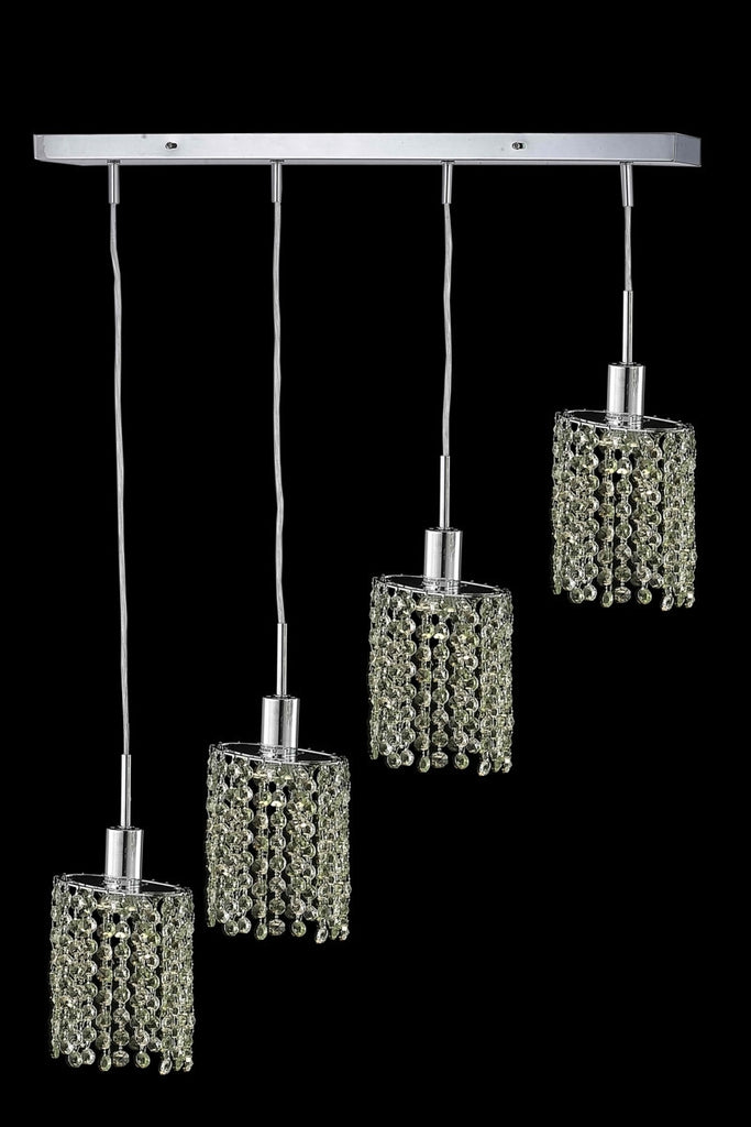 C121-1384D-O-E-BO/RC By Elegant Lighting Mini Collection 4 Light Pendants Chrome Finish
