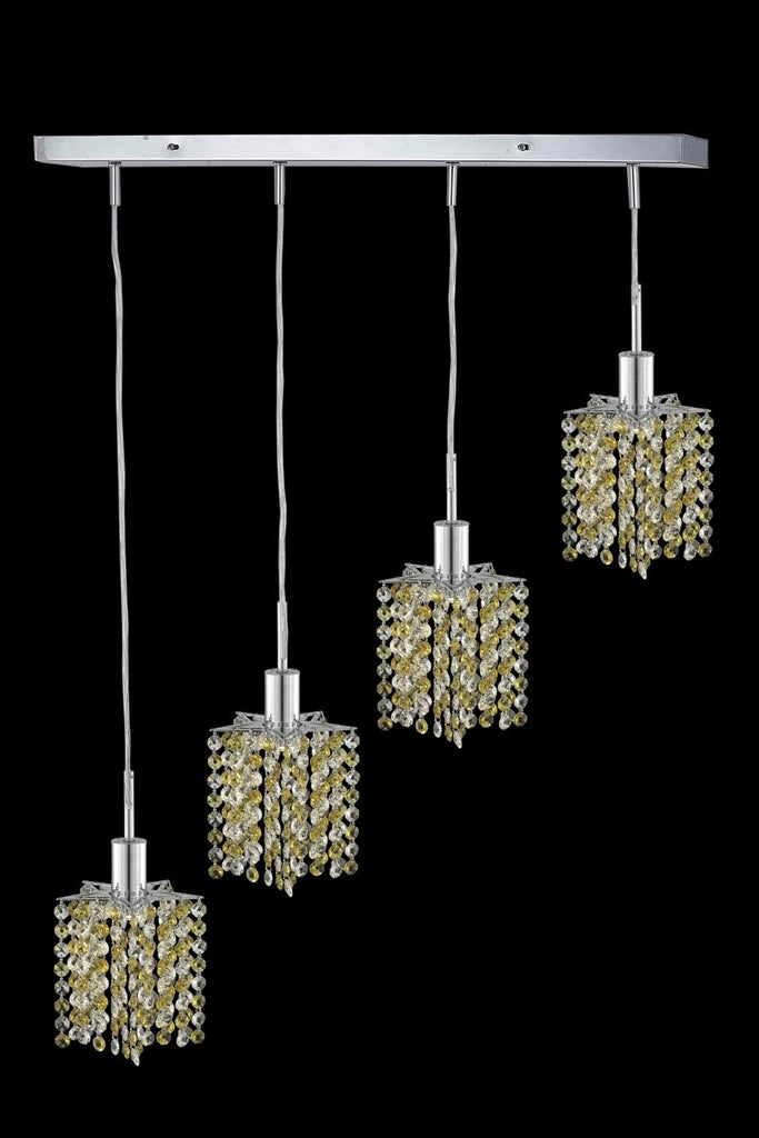 C121-1384D-O-P-GT/RC By Elegant Lighting Mini Collection 4 Light Pendants Chrome Finish