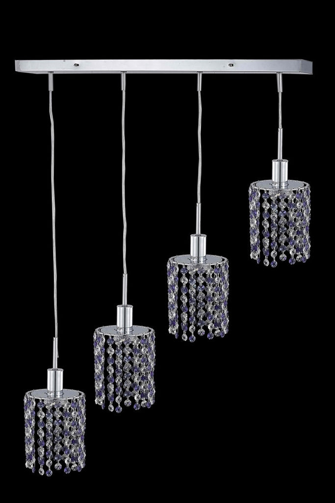 C121-1384D-O-R-TO/RC By Elegant Lighting Mini Collection 4 Light Pendants Chrome Finish
