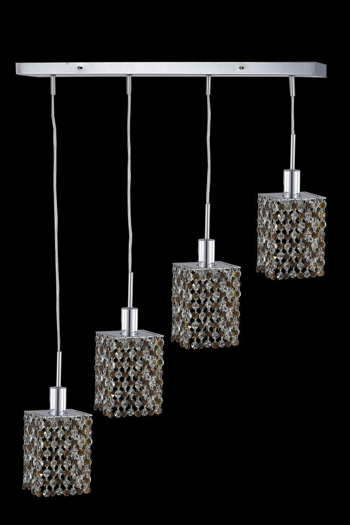C121-1384D-O-S-LP/RC By Elegant Lighting Mini Collection 4 Light Pendants Chrome Finish