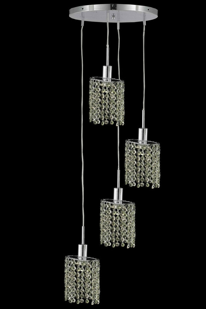 C121-1384D-R-E-LP/RC By Elegant Lighting Mini Collection 4 Light Chandeliers Chrome Finish