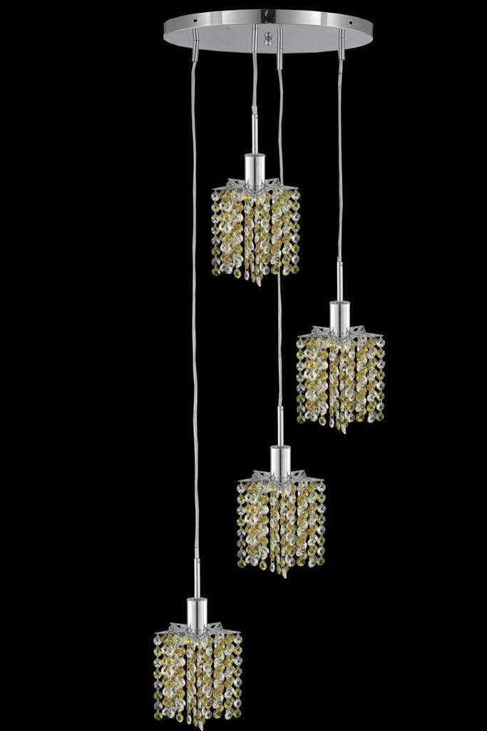 C121-1384D-R-P-GT/RC By Elegant Lighting Mini Collection 4 Light Chandeliers Chrome Finish