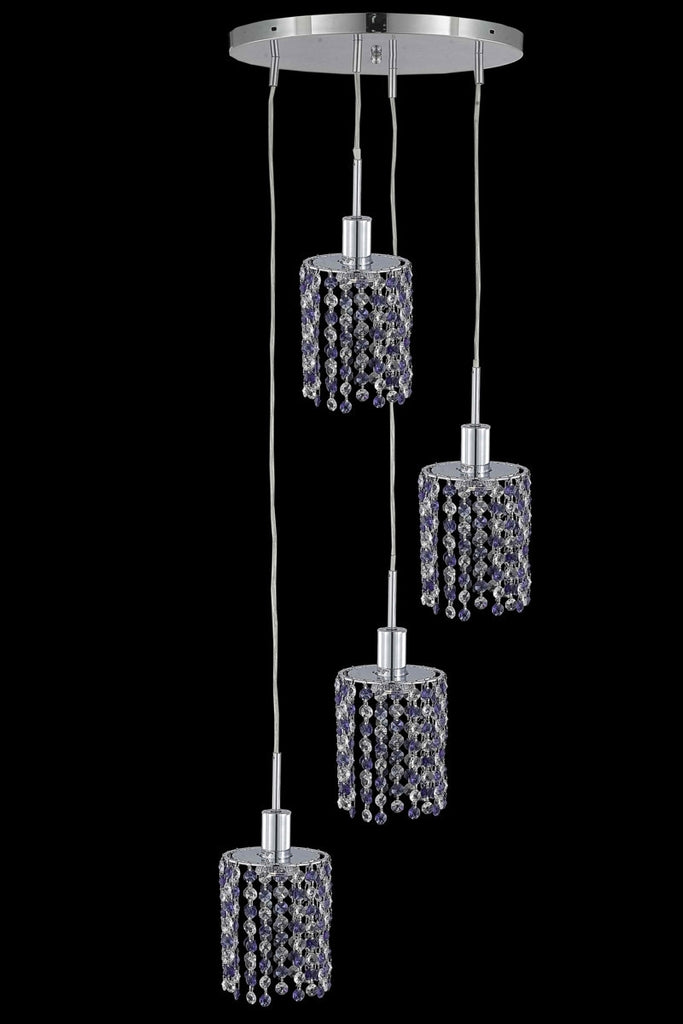 C121-1384D-R-R-BO/RC By Elegant Lighting Mini Collection 4 Light Chandeliers Chrome Finish