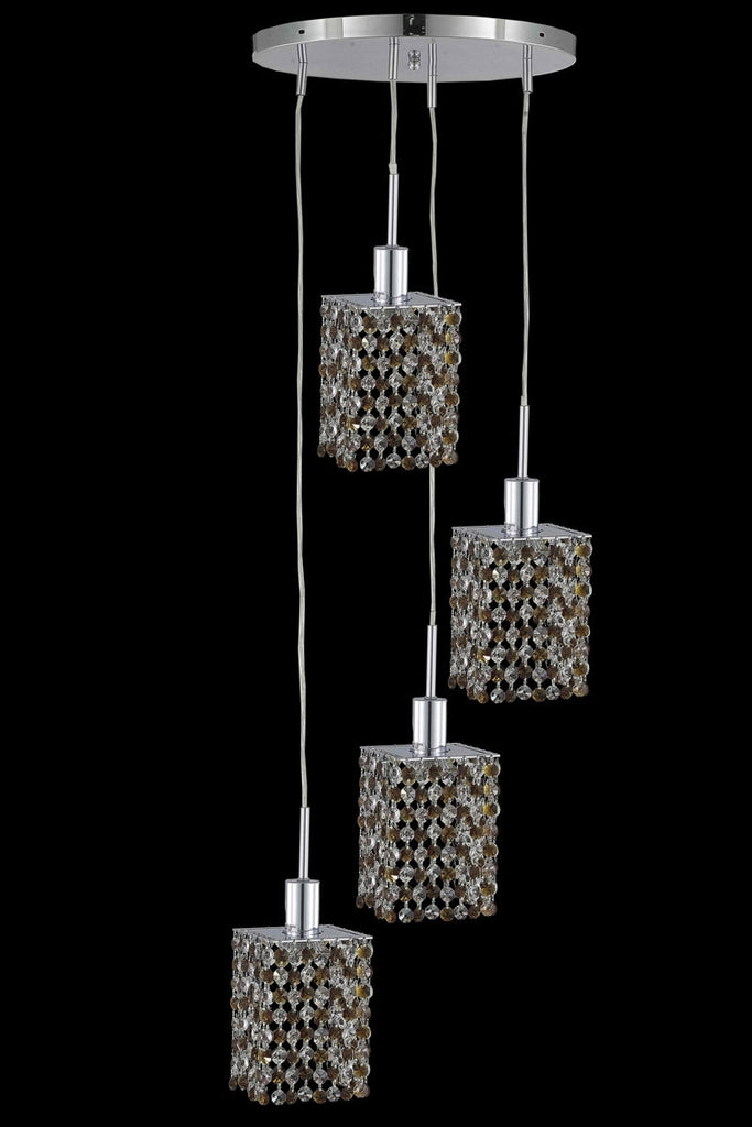 C121-1384D-R-S-LP/RC By Elegant Lighting Mini Collection 4 Light Chandeliers Chrome Finish