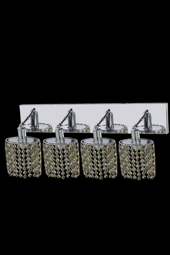 C121-1384W-O-E-GT/RC By Elegant Lighting Mini Collection 4 Light Wall Sconces Chrome Finish