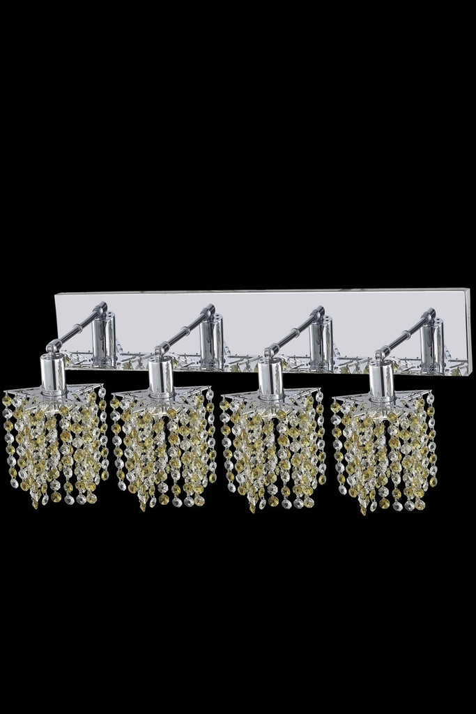 C121-1384W-O-P-LT/RC By Elegant Lighting Mini Collection 4 Light Wall Sconces Chrome Finish