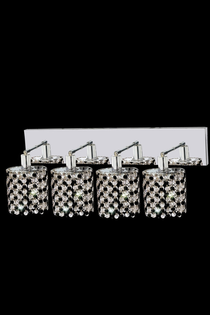 C121-1384W-O-R-LT/RC By Elegant Lighting Mini Collection 4 Light Wall Sconces Chrome Finish