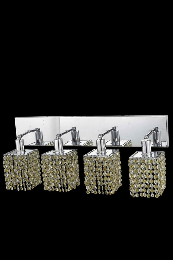 C121-1384W-O-S-LT/RC By Elegant Lighting Mini Collection 4 Light Wall Sconces Chrome Finish