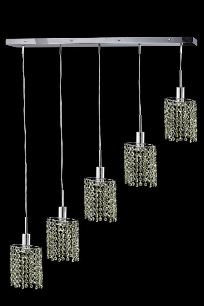 C121-1385D-O-E-GT/RC By Elegant Lighting Mini Collection 5 Light Chandeliers Chrome Finish