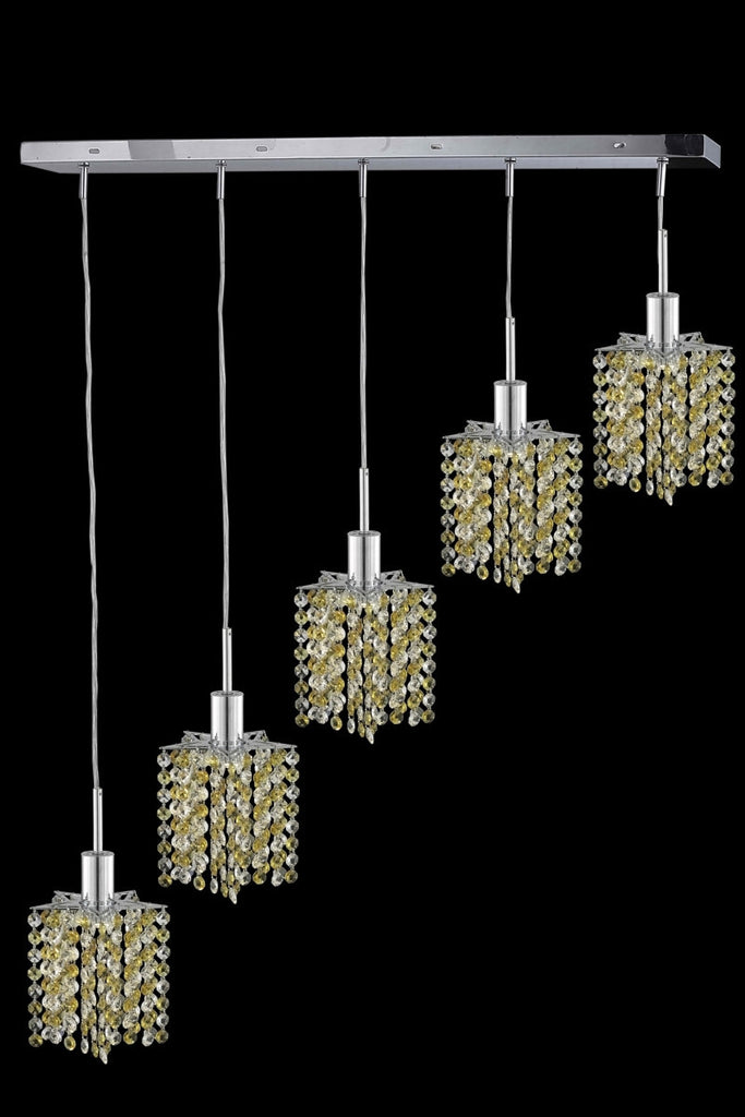 C121-1385D-O-P-TO/RC By Elegant Lighting Mini Collection 5 Light Chandeliers Chrome Finish