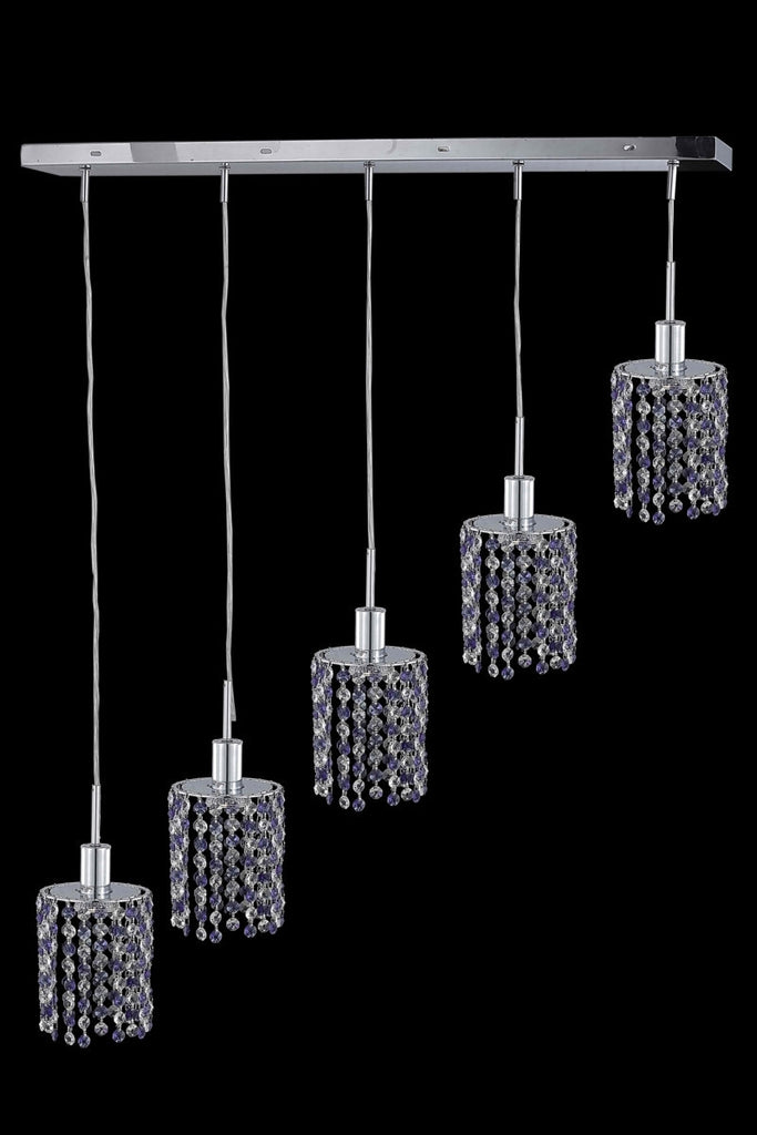 C121-1385D-O-R-LP/RC By Elegant Lighting Mini Collection 5 Light Chandeliers Chrome Finish