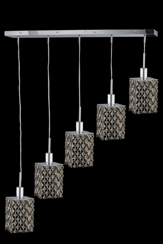 C121-1385D-O-S-TO/RC By Elegant Lighting Mini Collection 5 Light Chandeliers Chrome Finish