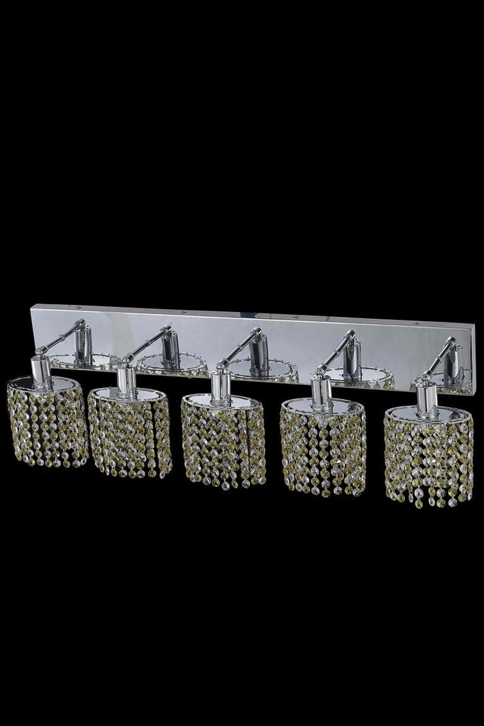 C121-1385W-O-E-LT/RC By Elegant Lighting Mini Collection 5 Light Wall Sconces Chrome Finish