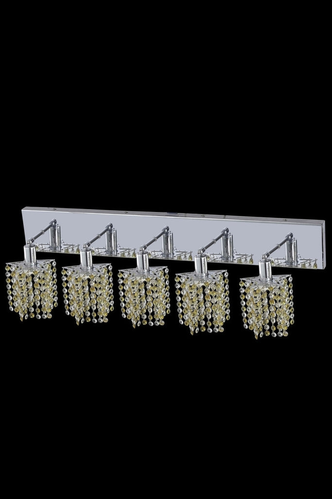 C121-1385W-O-P-LT/RC By Elegant Lighting Mini Collection 5 Light Wall Sconces Chrome Finish
