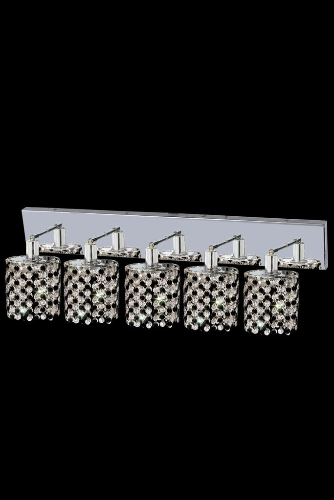 C121-1385W-O-R-LT/RC By Elegant Lighting Mini Collection 5 Light Wall Sconces Chrome Finish