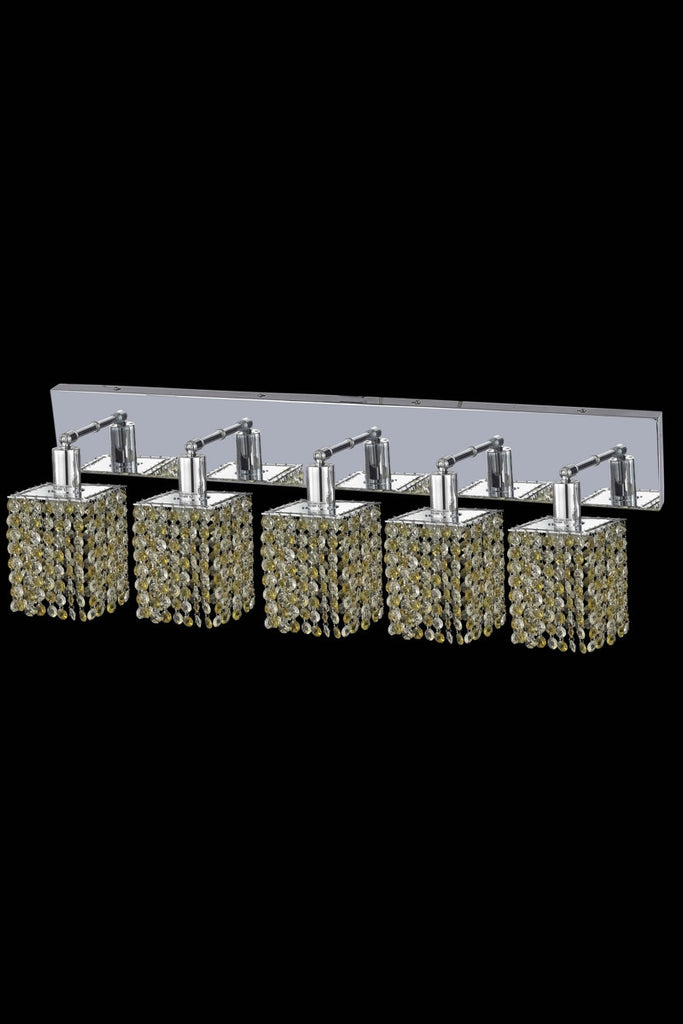 C121-1385W-O-S-JT/RC By Elegant Lighting Mini Collection 5 Light Wall Sconces Chrome Finish