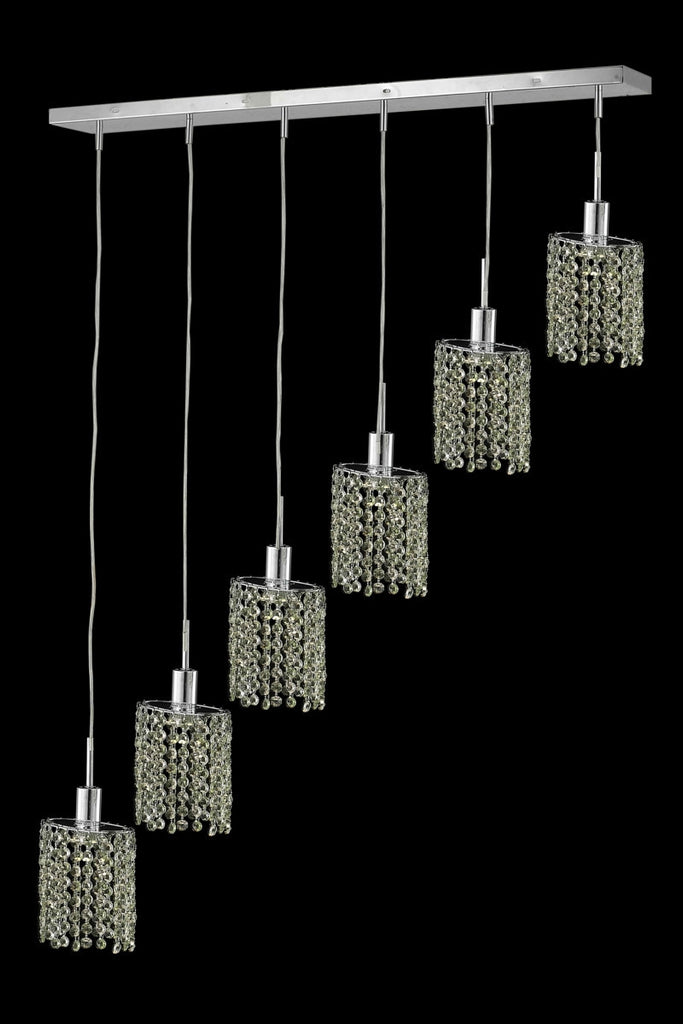 C121-1386D-O-E-TO/RC By Elegant Lighting Mini Collection 6 Light Chandeliers Chrome Finish
