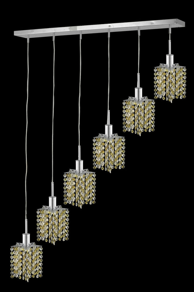 C121-1386D-O-P-GT/RC By Elegant Lighting Mini Collection 6 Light Chandeliers Chrome Finish