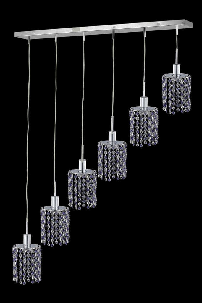 C121-1386D-O-R-LP/RC By Elegant Lighting Mini Collection 6 Light Chandeliers Chrome Finish