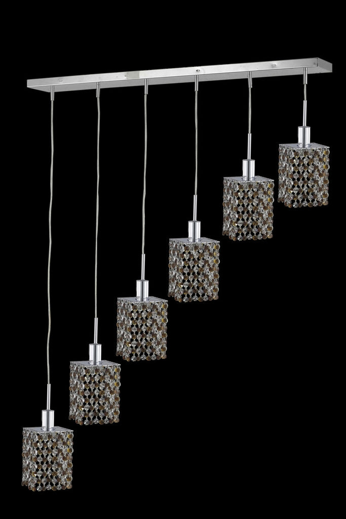 C121-1386D-O-S-RO/RC By Elegant Lighting Mini Collection 6 Light Chandeliers Chrome Finish