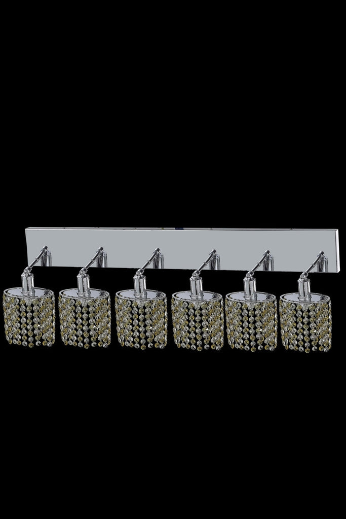 C121-1386W-O-E-LT/RC By Elegant Lighting Mini Collection 6 Light Wall Sconces Chrome Finish