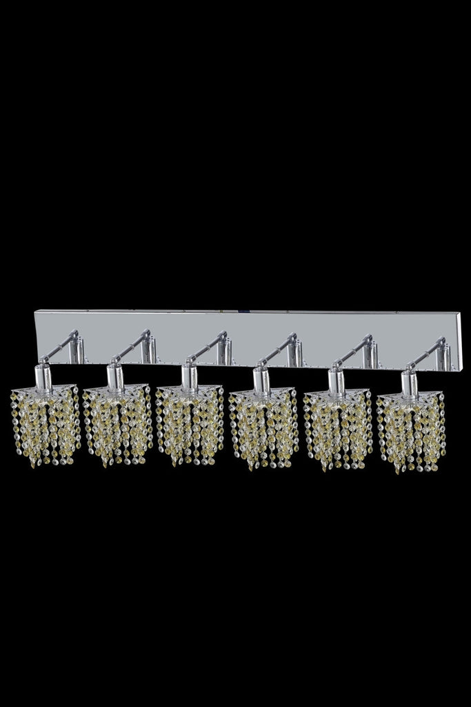 C121-1386W-O-P-LT/RC By Elegant Lighting Mini Collection 6 Light Wall Sconces Chrome Finish