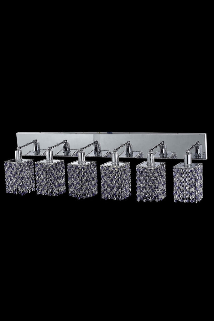 C121-1386W-O-S-GT/RC By Elegant Lighting Mini Collection 6 Light Wall Sconces Chrome Finish