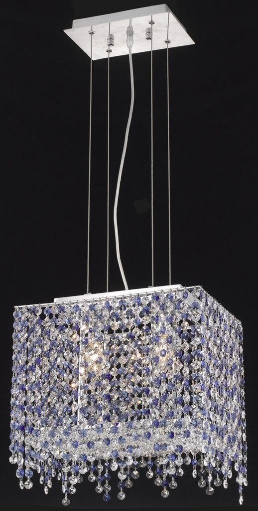 C121-1391D14C-GT/RC By Elegant Lighting Moda Collection 2 Light Chandeliers Chrome Finish