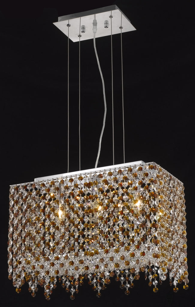 C121-1391D18C-GT/RC By Elegant Lighting Moda Collection 3 Light Chandeliers Chrome Finish