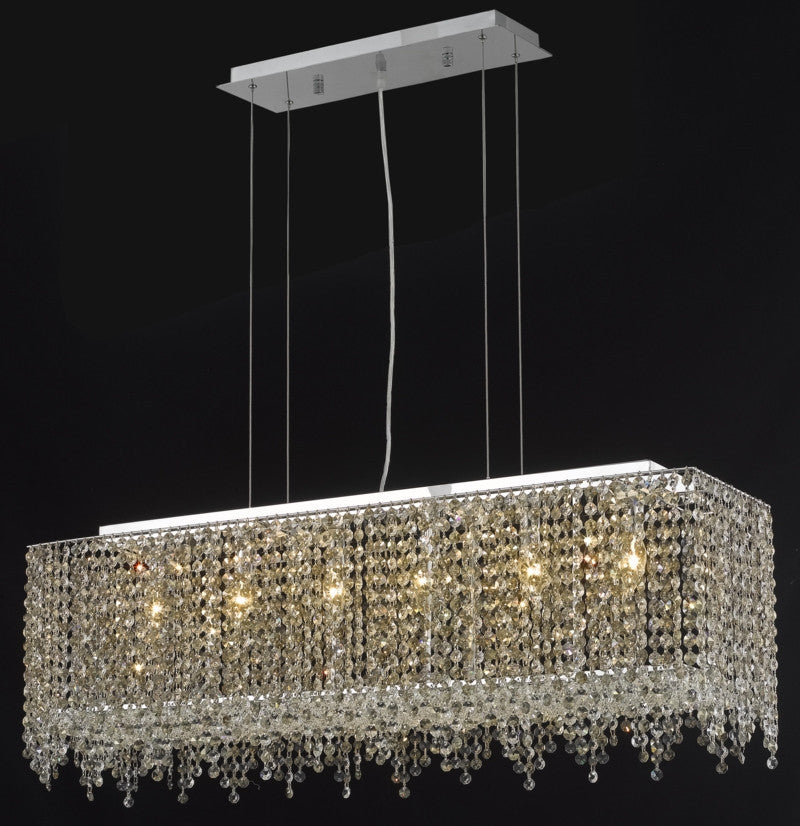 C121-1391D38C-BO/RC By Elegant Lighting Moda Collection 6 Light Chandeliers Chrome Finish