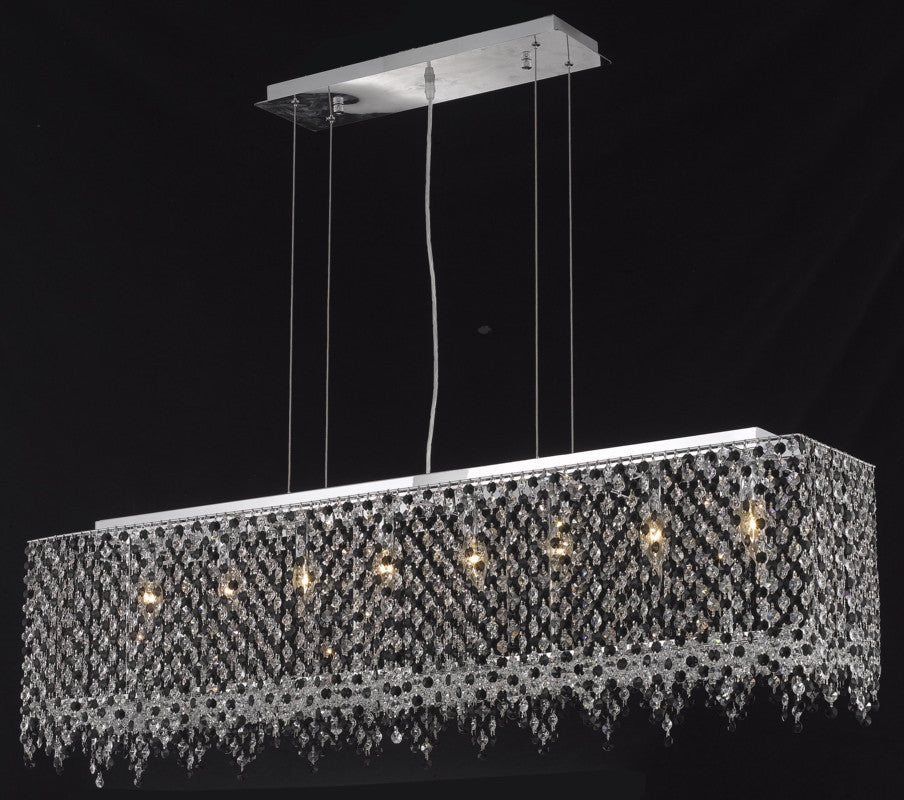 C121-1391D46C-RO/RC By Elegant Lighting Moda Collection 8 Light Chandeliers Chrome Finish