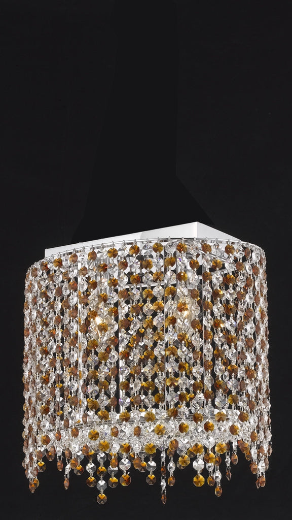 C121-1392D14C-BO/RC By Elegant Lighting Moda Collection 2 Light Wall Sconces Chrome Finish
