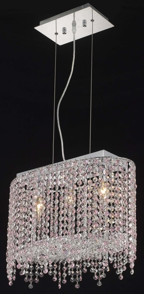 C121-1392D18C-LP/RC By Elegant Lighting Moda Collection 3 Light Chandeliers Chrome Finish