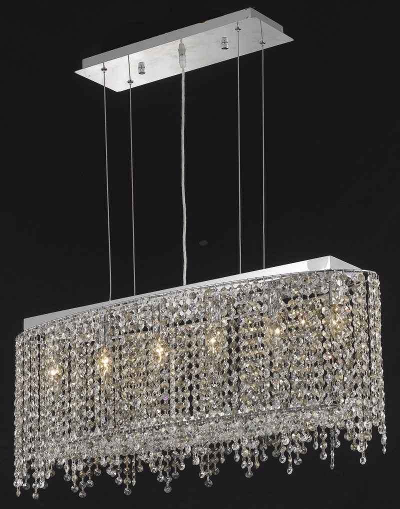 C121-1392D32C-LT/RC By Elegant Lighting Moda Collection 6 Light Chandeliers Chrome Finish