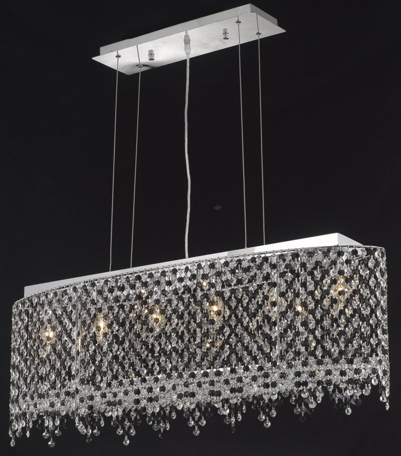 C121-1392D38C-LP/RC By Elegant Lighting Moda Collection 6 Light Chandeliers Chrome Finish