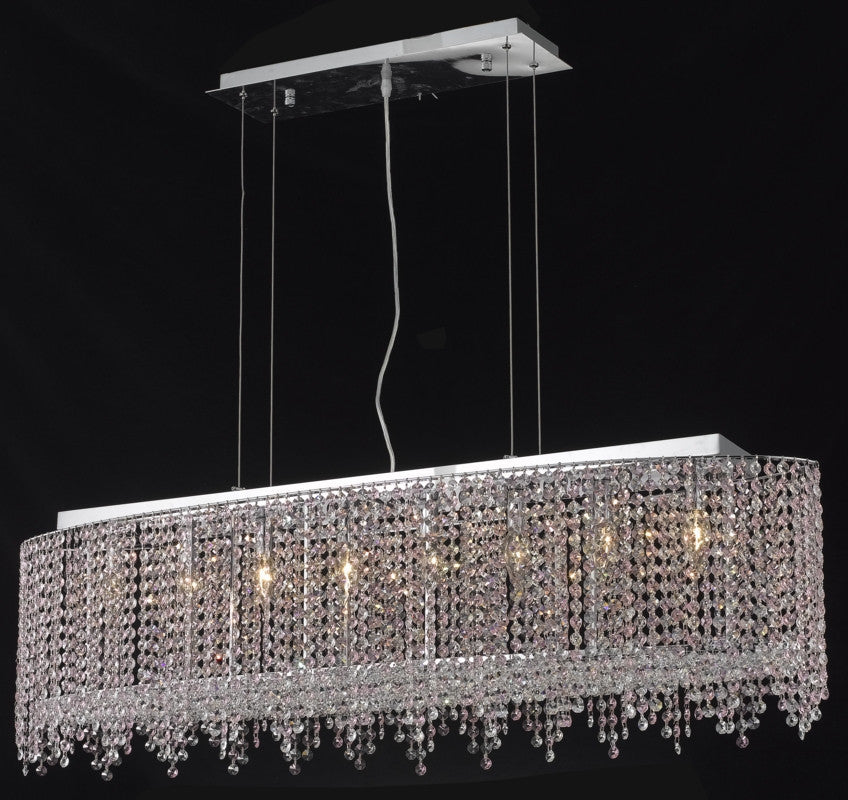 C121-1392D46C-TO/RC By Elegant Lighting Moda Collection 8 Light Chandeliers Chrome Finish