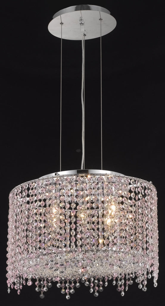 C121-1393D18C-LT/RC By Elegant Lighting Moda Collection 5 Light Chandeliers Chrome Finish