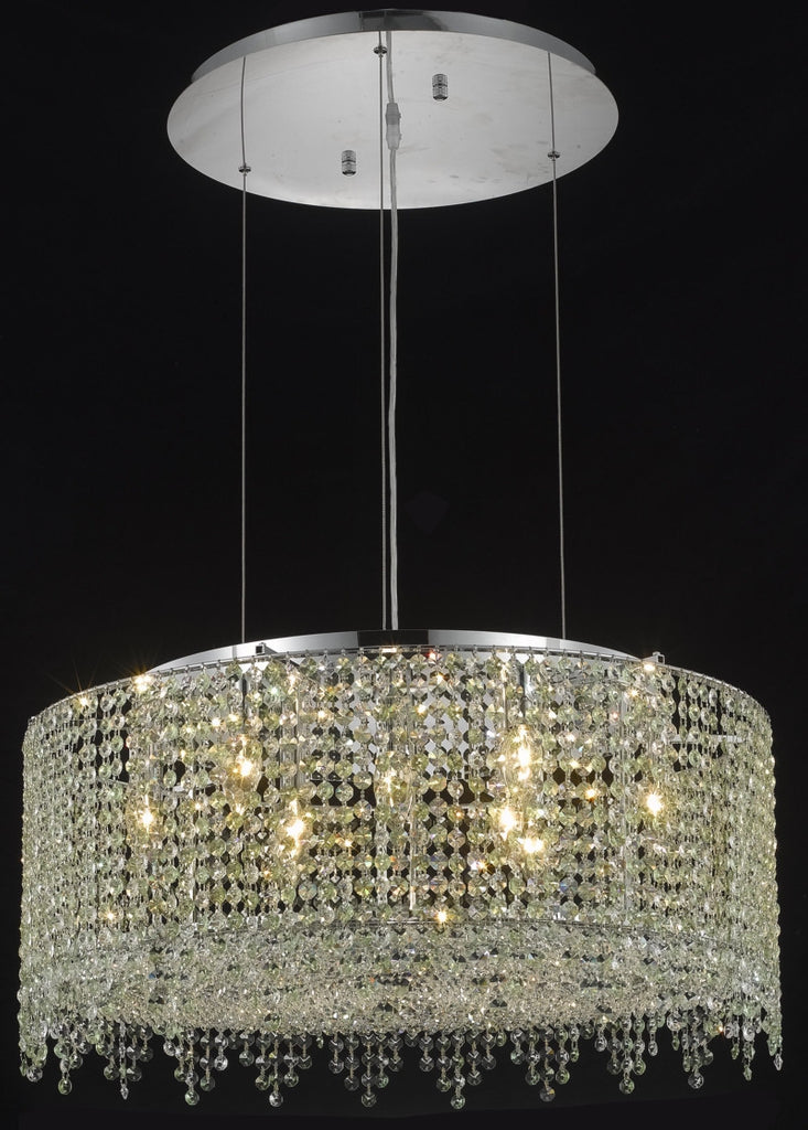 C121-1393D26C-LT/RC By Elegant Lighting Moda Collection 9 Light Chandeliers Chrome Finish