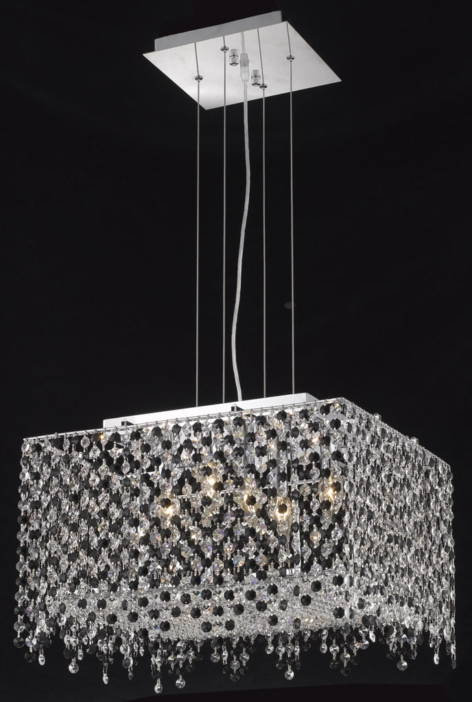 C121-1394D18C-LP/RC By Elegant Lighting Moda Collection 5 Light Chandeliers Chrome Finish