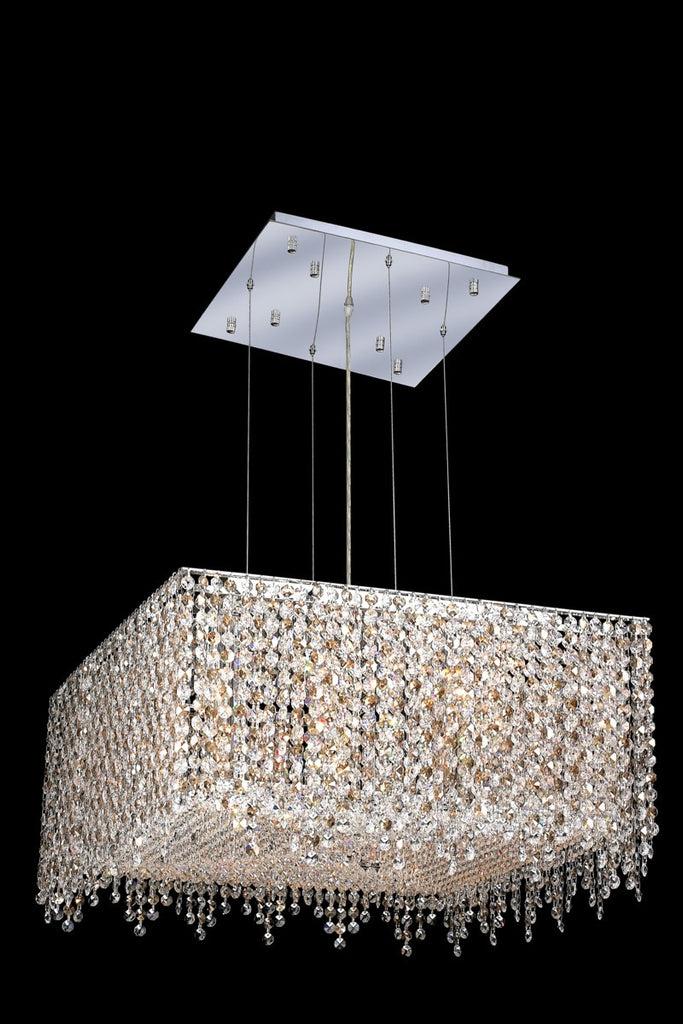 C121-1394D22C-LP/RC By Elegant Lighting Moda Collection 9 Light Chandeliers Chrome Finish